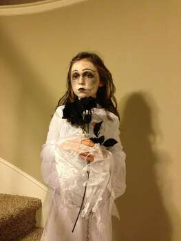 "My sweet daughter as the creepy ""Corpse Bride"".