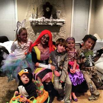 Happy Halloween from the penguin, bunny, sally nightmare before christmas, gypsy, skeleton, top gun.