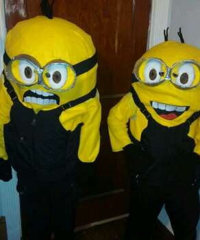 My two boys Jose 10 and Joel 7 Garza wearing their homemade Despicable Me Minions costumes.