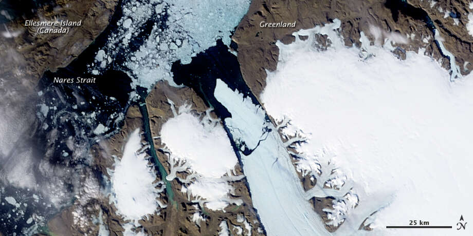 On August 5, 2010, an enormous chunk of ice, roughly 97 square miles (251 square kilometers) in size, broke off the Petermann Glacier along the northwestern coast of Greenland. The Canadian Ice Service detected the remote event within hours in near-real-time data from the Moderate Resolution Imaging Spectroradiometer (MODIS) on NASA's Aqua satellite. The Petermann Glacier lost about one-quarter of its 70-kilometer- (40-mile-) long floating ice shelf, said researchers who analyzed the satellite data at the University of Delaware. Photo: NASA