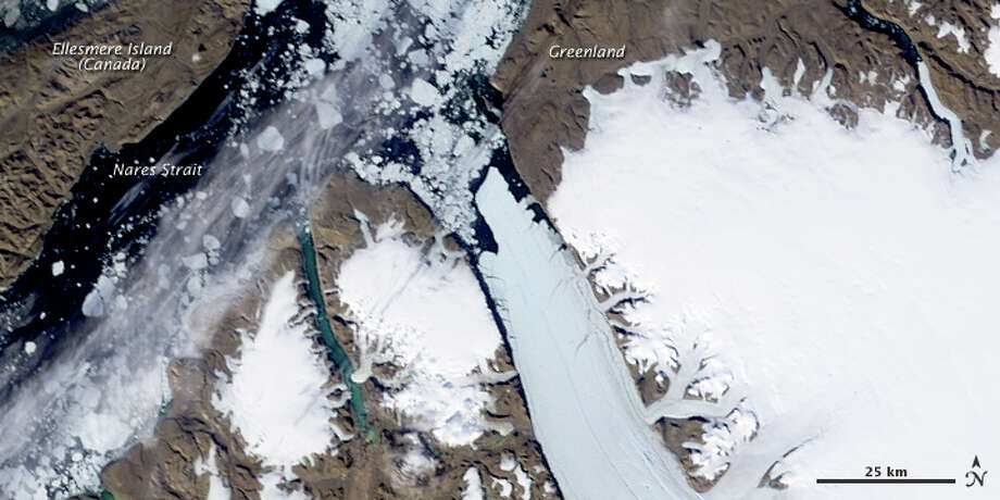 The Petermann Glacier along the northwestern coast of Greenland on July 28, 2010. Photo: NASA