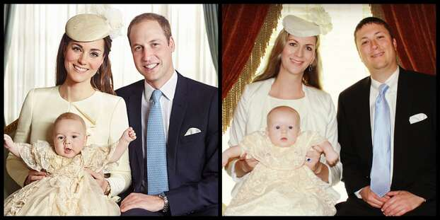 My husband, our 3 month old son and I dressed up as Kate Middleton, Prince William, and Prince George in the royal christening photo.