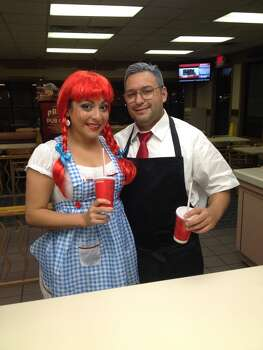 We went as one of the best fast food chains ever...Wendy & Dave Thomas (Melissa & Brandon)!!