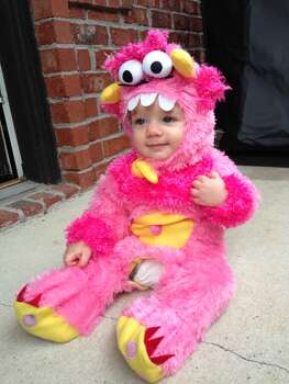 This is my daughter, Camelia Soleil, as a (super scary!) pink monster.