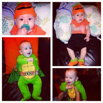 My sweet four month old Luca as a pumpkin & a ninja turtle! Even though he has a stomach bug he is still happier than ever! I think he liked the ninja turtle outfit better!