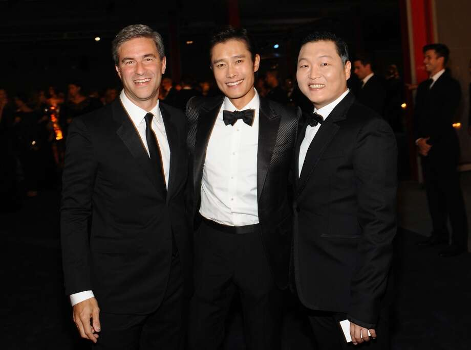 CEO and director of the Los Angeles County Museum of Art Michael Govan, Byung-hun Lee and PSY attend the LACMA 2013 Art + Film Gala honoring Martin Scorsese and David Hockney presented by Gucci at LACMA on November 2, 2013 in Los Angeles, California.  (Photo by Stefanie Keenan/Getty Images for LACMA) Photo: Stefanie Keenan, Getty Images For LACMA
