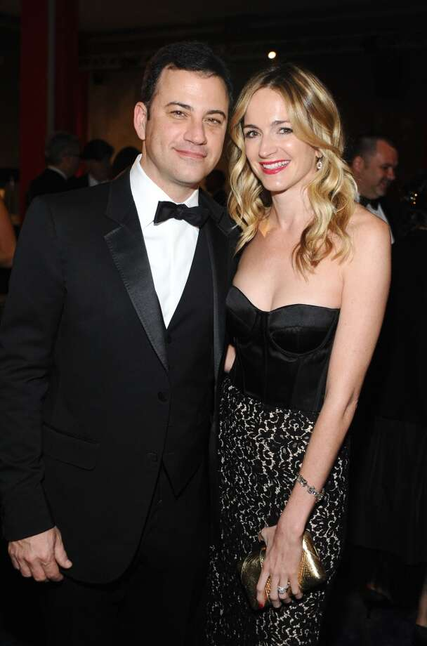 Television personality Jimmy Kimmel, wearing Gucci, and writer Molly McNearney attend the LACMA 2013 Art + Film Gala honoring Martin Scorsese and David Hockney presented by Gucci at LACMA on November 2, 2013 in Los Angeles, California. Photo: Stefanie Keenan, Getty Images For LACMA