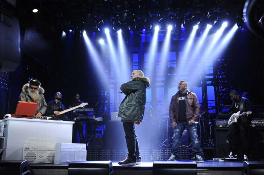 "The celebrity news and gossip site TMZ claims that rapper Eminem lip-synced his Nov. 2, 2013 ""Saturday Night Live"" performance of his single ""Berzerk."" / 2013 NBCUniversal Media, LLC"