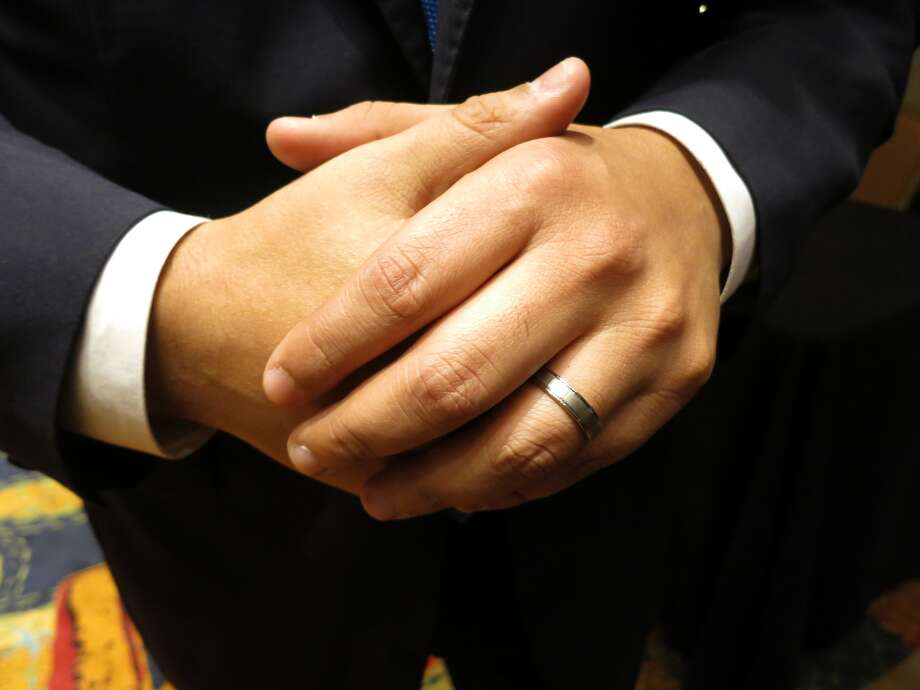Joaquin Castro shows his new wedding ring, Nov. 4, 2013. Photo: John W. Gonzalez/San Antonio Express-News