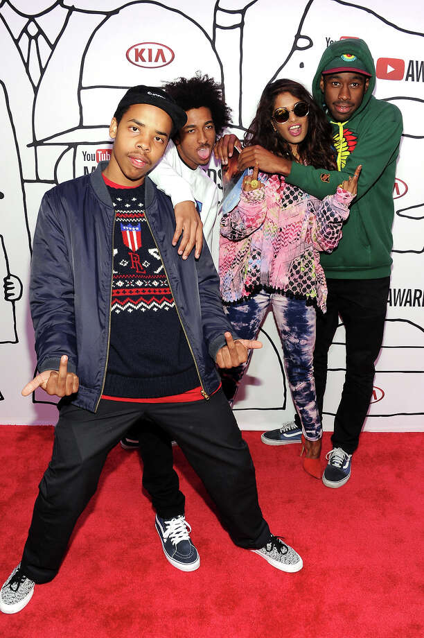 (L-R) Earl Sweatshirt, Taco Bennett, M.I.A. and Tyler The Creator attend the YouTube Music Awards 2013 on November 3, 2013 in New York City. Photo: Dimitrios Kambouris, Getty Images / 2013 Getty Images