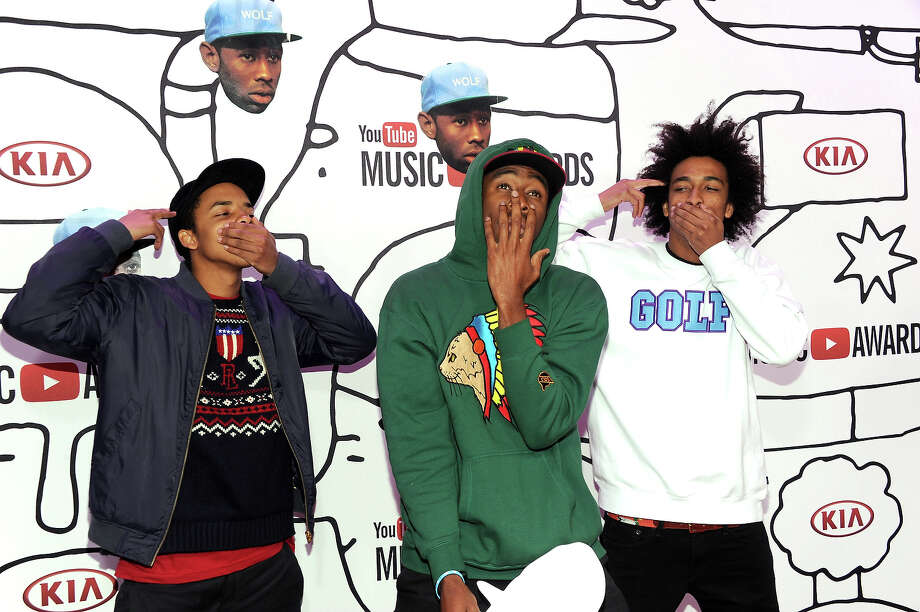 (L-R) Earl Sweatshirt, Tyler The Creator and Taco Bennett attend the YouTube Music Awards 2013 on November 3, 2013 in New York City. Photo: Dimitrios Kambouris, Getty Images / 2013 Getty Images