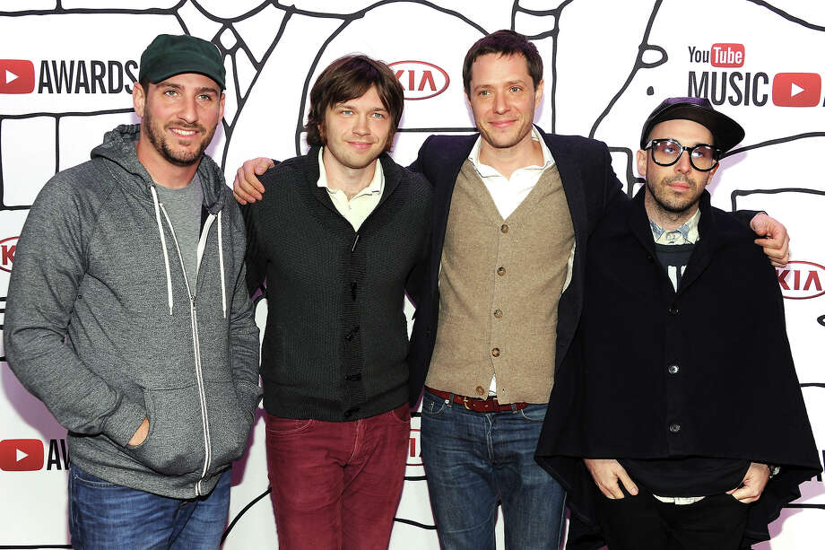(L-R) Dan Konopka, Andy Ross, Tim Nordwind and Damian Kulash of OK GO attends the YouTube Music Awards 2013 on November 3, 2013 in New York City. Photo: Dimitrios Kambouris, Getty Images / 2013 Getty Images