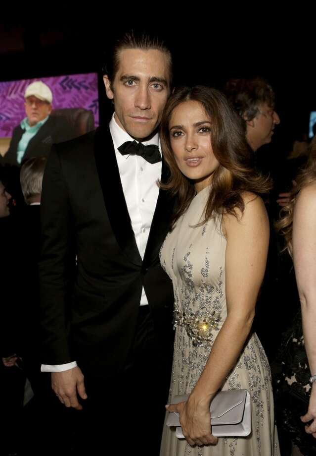 Actors Jake Gyllenhaal and Salma Hayek attend the LACMA 2013 Art + Film Gala honoring Martin Scorsese and David Hockney presented by Gucci at LACMA on November 2, 2013 in Los Angeles, California. Photo: Jeff Vespa, Getty Images For LACMA