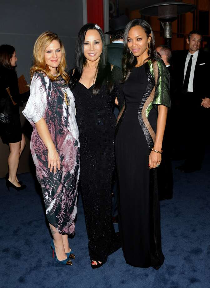(L-R) Actress Drew Barrymore, LACMA Trustee and Co-Chair Eva Chow and actress Zoe Saldana, wearing Gucci, attend the LACMA 2013 Art + Film Gala honoring Martin Scorsese and David Hockney presented by Gucci at LACMA on November 2, 2013 in Los Angeles, California.  (Photo by Stefanie Keenan/Getty Images for LACMA) Photo: Stefanie Keenan, Getty Images For LACMA