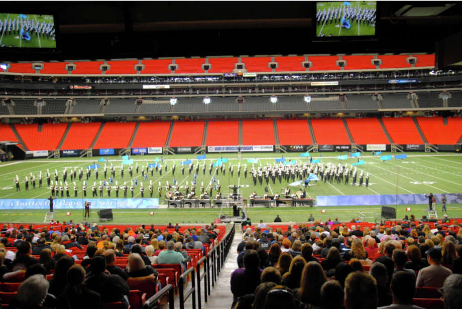The Cypress Falls High School marching band placed seventh out of 34 bands at the Bands of America Atlanta Super Regional in the Georgia Dome recently. Photo: Cypress Falls High School