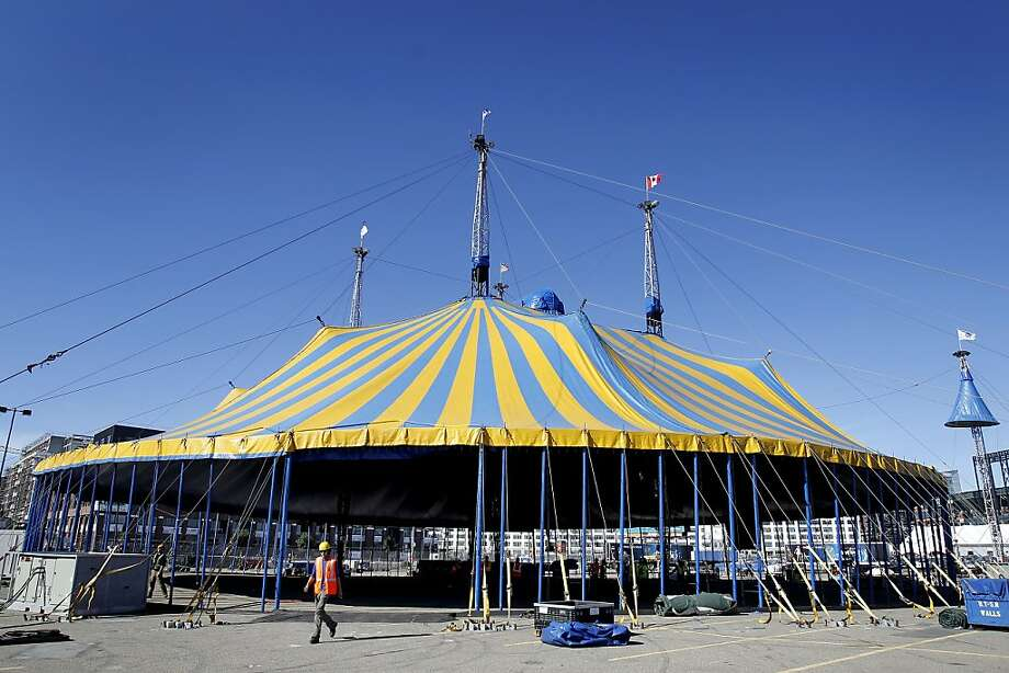 "Once the poles on the perimeter are raised, the tent is ready for seating and other details for Cirque du Soleil's new show ""Amaluna."" Photo: Brant Ward, The Chronicle"