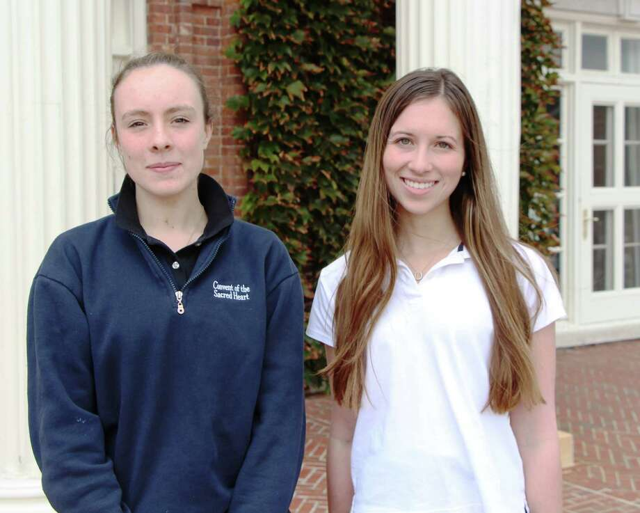 Convent of the Sacred Heart sophomore Alana Galloway, of Greenwich, right, penned an opinion piece about Greenwich's Bart Palosz that was published in the online publication The Stewardship Report. Junior Anabeth Bostrup, of Ridgefield, left, drew an illustration that ran with the editorial. Photo: Paul Schott, Greenwich Time / Greenwich Time