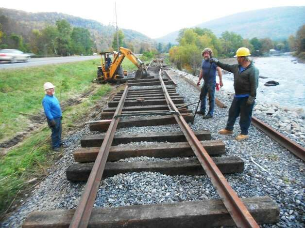 Volunteers recently repaired a section of the Catskill Mountain Railroad tracks damaged by 2011's Tropical Storm Irene. The section shown here is at Campground Curve in Mount Tremper along State Route 28.   (Catskill Mountain Railroad photo)