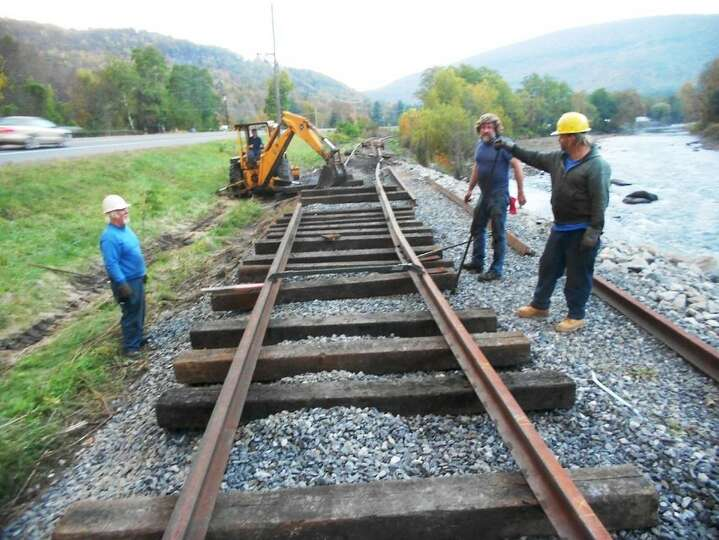 Volunteers recently repaired a section of the Catskill Mountain Railroad tracks damaged by 2011's Tr