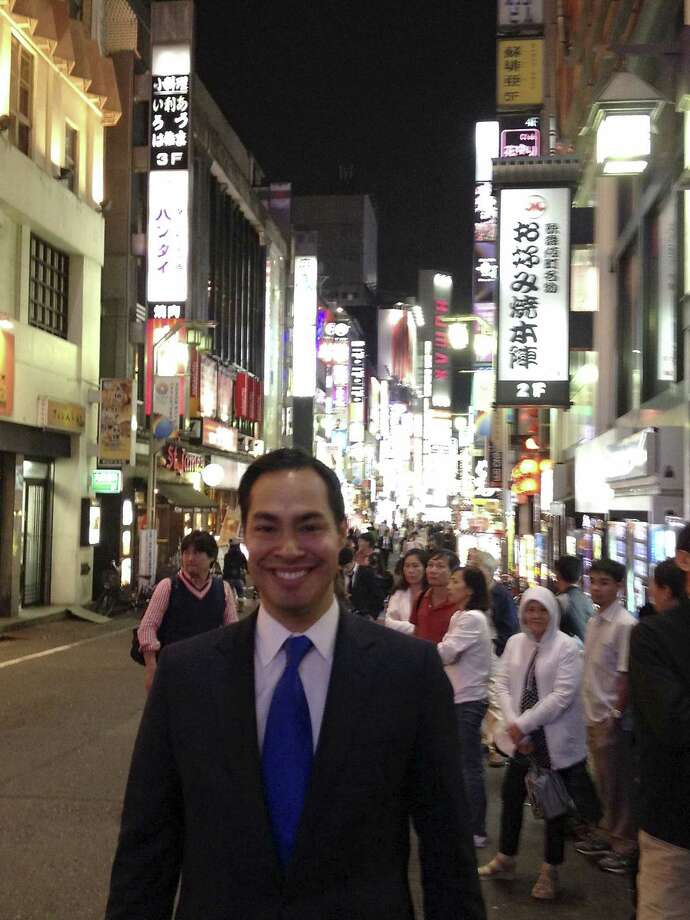Mayor Julián Castro stands on a street in Tokyo in a photo he posted on Facebook last Wednesday. He met with Toyota officials and addressed a major summit. Photo: Courtesy /
