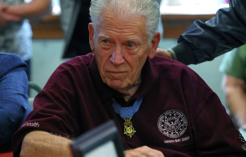 Francis Currey wears his Congressional Medal of Honor during a Salute to Heroes,an event for Currey and two other Medal of Honor recipients in Altamont in 2009. Currey received the medal for his actions in Belgium in 1944 in the US Army. (Times Union archive)