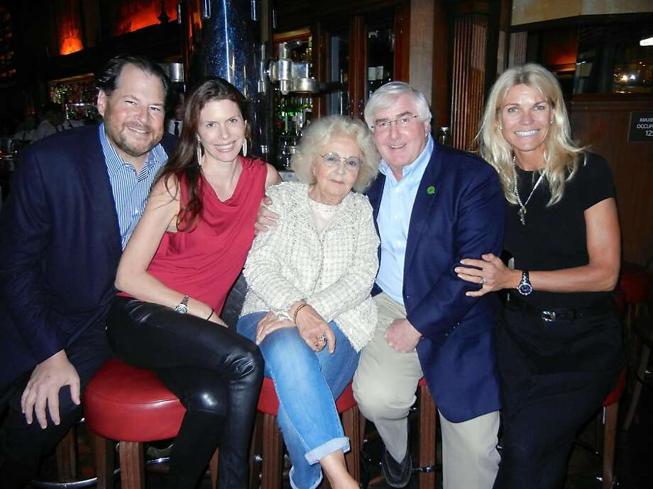 Marc and Lynne Benioff (left) with Jeannette Etheredge, Ron Conway and Jennifer Montana at a Tosca Cafe gathering in support of UCSF's future Mission Bay Campus and Benioff Children's Hospital. Photo: Catherine Bigelow, Special To The Chronicle
