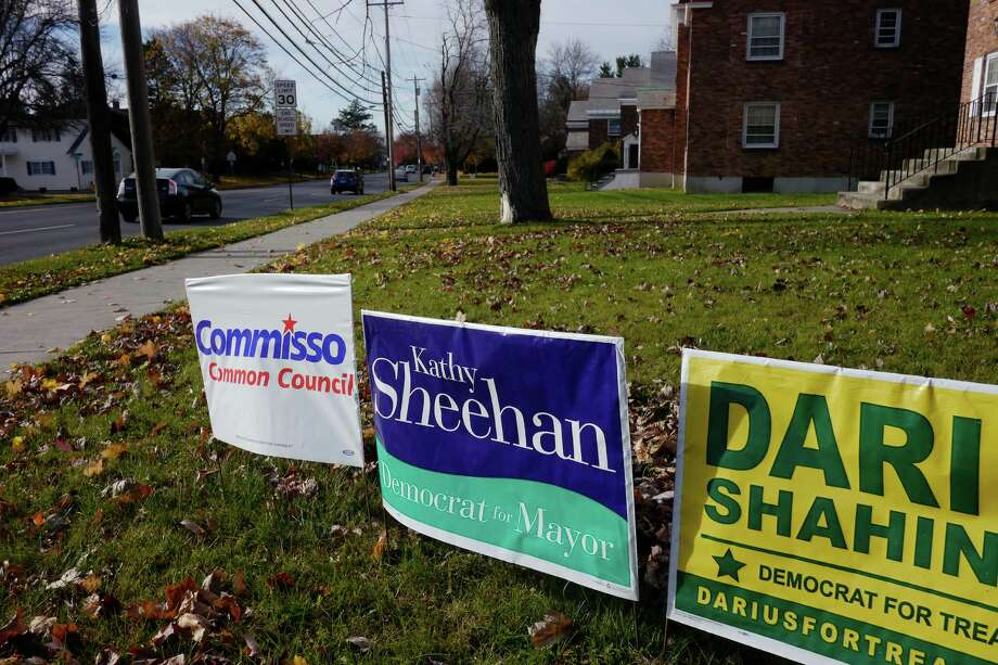 Campaign signs along Western Ave. on Monday, Nov. 4, 2013 in Albany, NY.  (Paul Buckowski / Times Union) Photo: Paul Buckowski / 00024511A