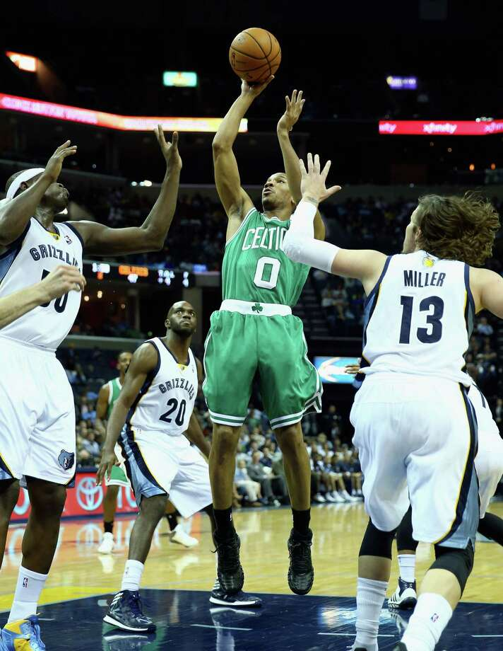 MEMPHIS, TN - NOVEMBER 04:  Avery Bradley #0 of the Boston Celtics shoots the ball during the NBA game against the  Memphis Grizzlies at FedExForum on November 4, 2013 in Memphis, Tennessee. NOTE TO USER: User expressly acknowledges and agrees that, by downloading and or using this Photograph, user is consenting to the terms and condition of the Getty Images License Agreement. (Photo by Andy Lyons/Getty Images) ORG XMIT: 182407393 Photo: Andy Lyons / 2013 Getty Images