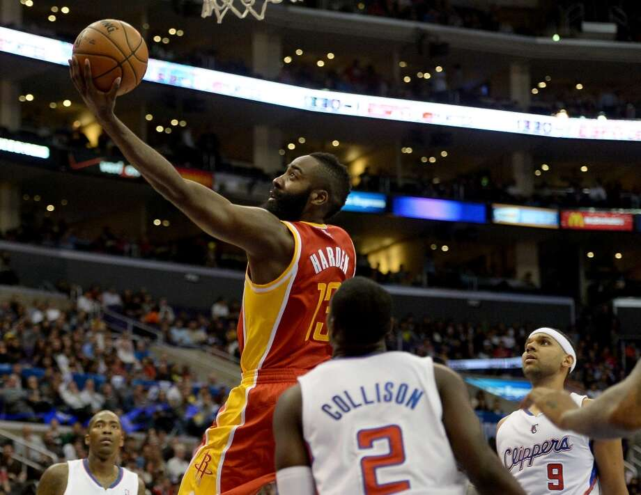 James Harden of the Rockets drives against the Clippers. Photo: Harry How, Getty Images