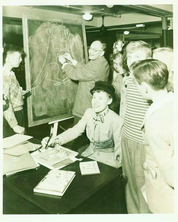 Hans and Margret Rey at a book signing in New York in the 1940s.