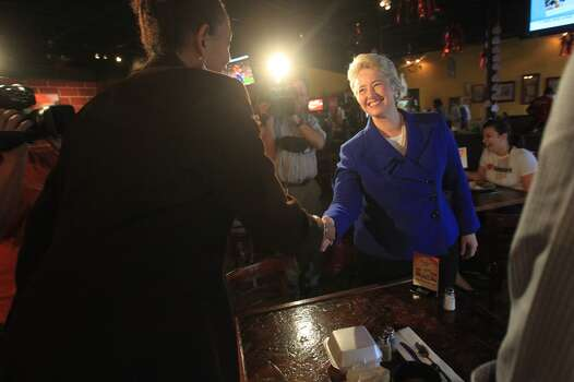 Mayor Annise Parker starts Election Day at the Breakfast Klub on Tuesday Nov. 5, 2013. Photo: Mayra Beltran, Houston Chronicle