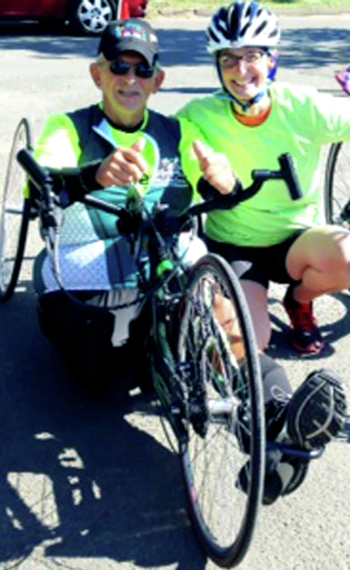 Tony Allegretti, left, of New Milford and a fellow athlete pose for a keepsake photo. Courtesy of Tony Allegretti