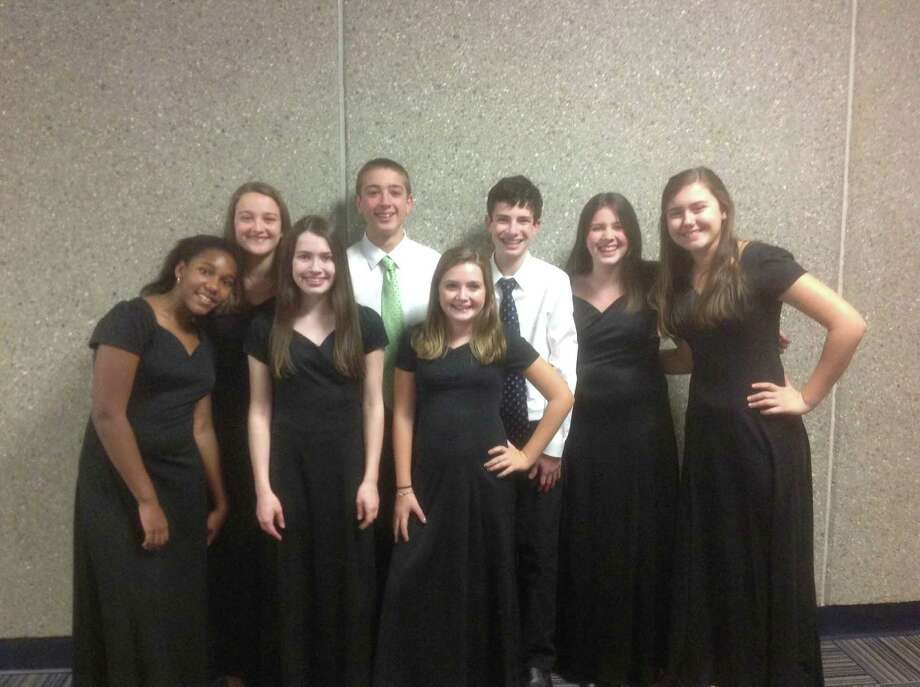Eight members of the Saxe Middle School Eighth Grade Chorus were selected to represent their school in this year's Connecticut ACDA Middle School Honor Choir. Photo: Contributed Photo, Contributed / New Canaan News Contributed