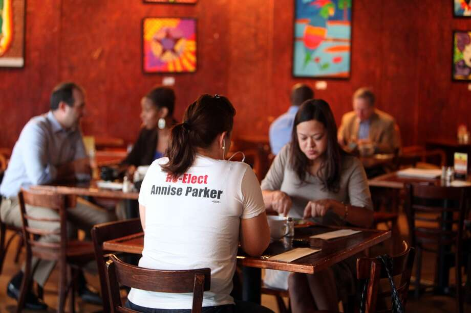 Mayor Annise Parker's supporters gather to join the mayor on Election Day at The Breakfast Klub on Tuesday, Nov. 5, 2013, in Houston.  ( Mayra Beltran / Houston Chronicle ) Photo: Mayra Beltran, Houston Chronicle