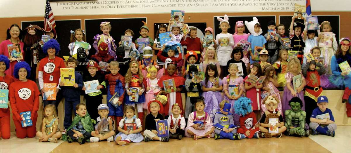 The Woodlands Christian Academy pre-K and kindergarten students and teachers dressed as their favorite storybook characters.