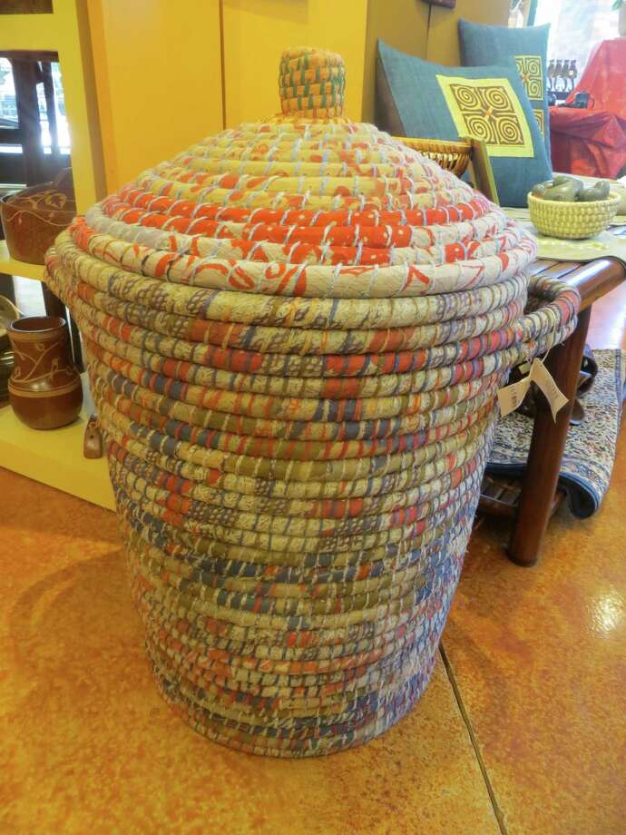 The hamper made from recycled saris is $49 at Ten Thousand Villages. Photo: Jennifer Rodriguez