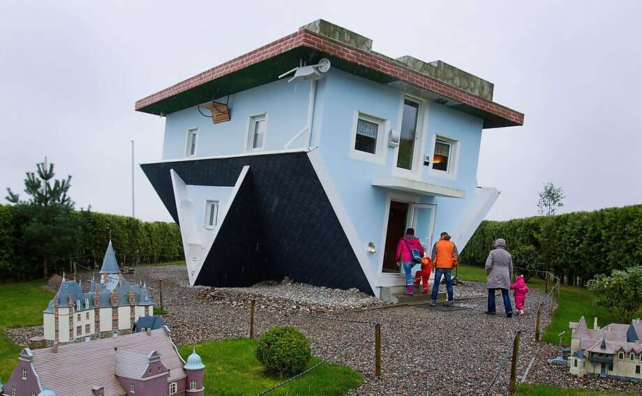 Kind of regretting going with the low-bid architect:The Trassenheide house on the German Baltic Sea island of Usedom may look like a big mistake, but the design is intentional. Even the house's interior is upside-down. Photo: Jens Buettner, AFP/Getty Images