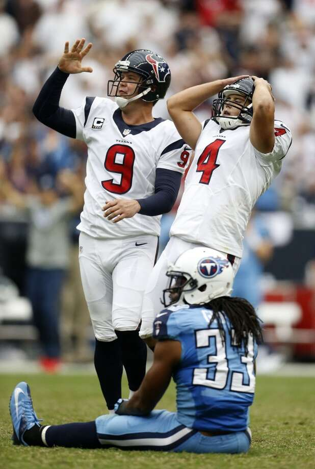 Special teamsKickoff and punt coverage is wretched. The return game is mediocre. Randy Bullock has missed eight field goals. Shane Lechler's net has dropped to 37.6 yards. And they commit too many penalties.  Grade: F-minus Photo: Karen Warren, Houston Chronicle