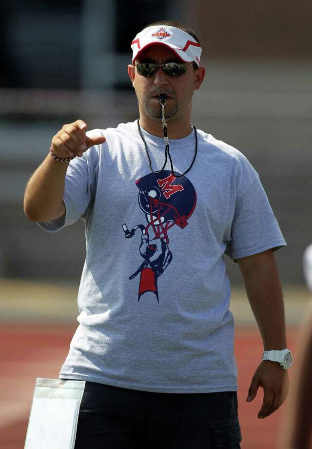 A.J. Albano, the head football coach at Brien McMahon High School, during a team practice earlier this season. His team was undefeated as of last week. Photo: File Photo / Norwalk Citizen