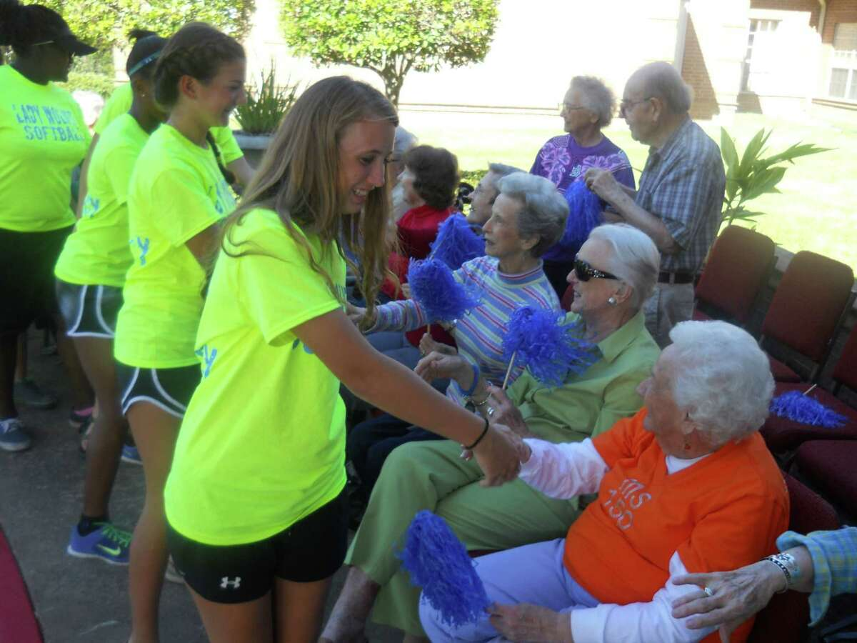 Students from Westside High School made a special stop at Parkway Place to say hi to seniors during their annual homecoming parade.
