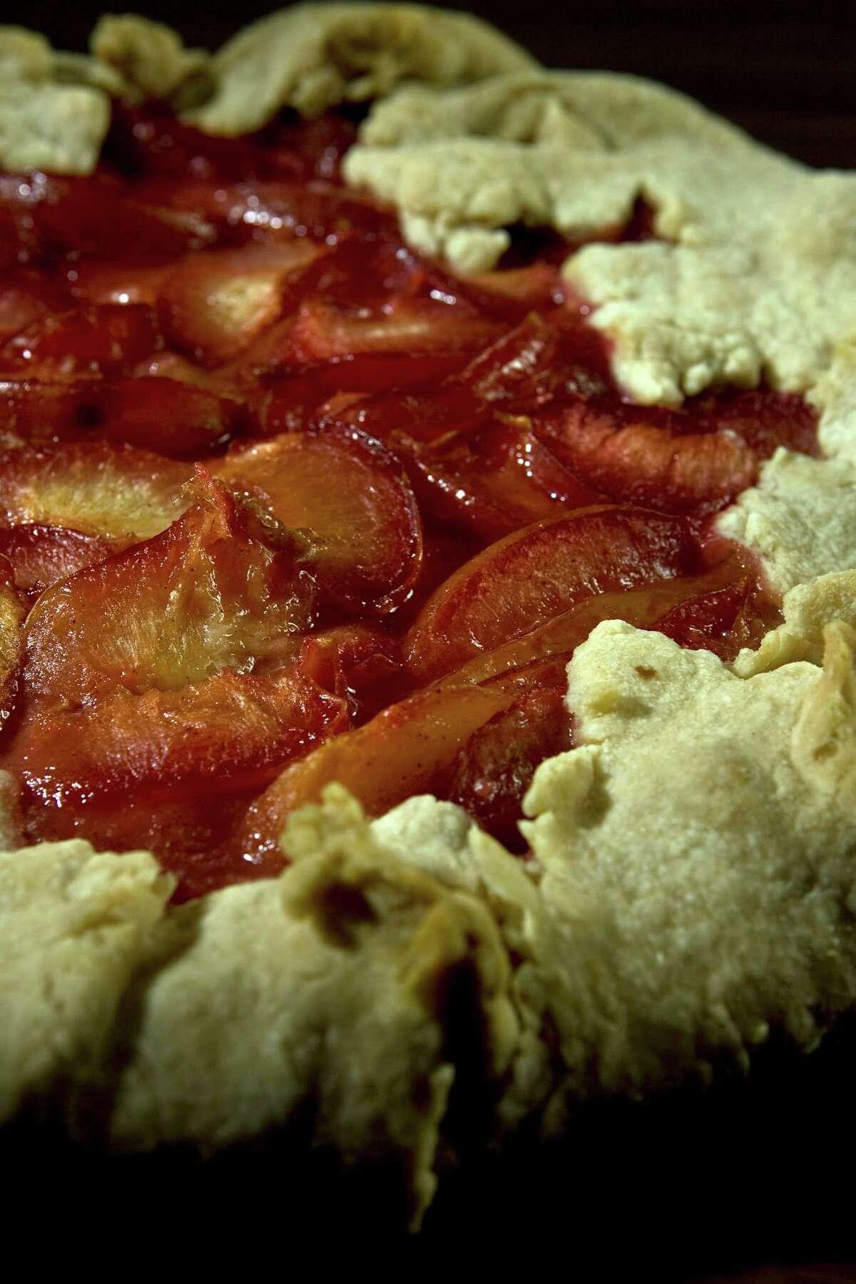 Pluots fruit tart photographed in the Houston Chronicle studio Thursday, Aug. 13, 2009, in Houston. ( James Nielsen / Chronicle )