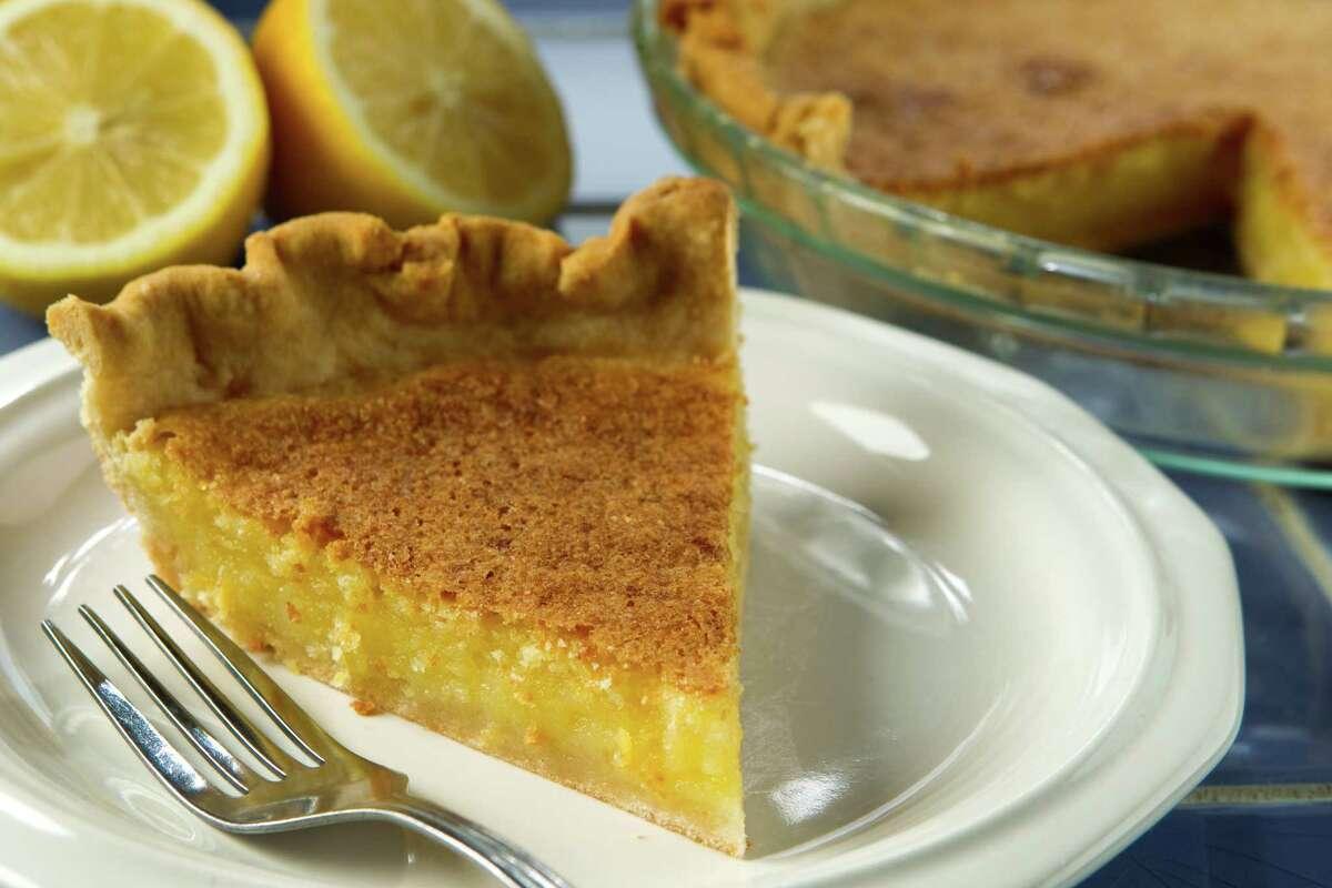 A slice of lemon chess pie is shown in the Chronicle Studio Thursday, March 3, 2011, in Houston. ( Brett Coomer / Houston Chronicle )