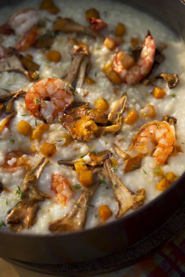 "Shrimp, Chanterelle & Pumpkin Risotto, a recipe from ""Cooking from the Heart"" by John Besh. (Photo: Andrews McMeel)"