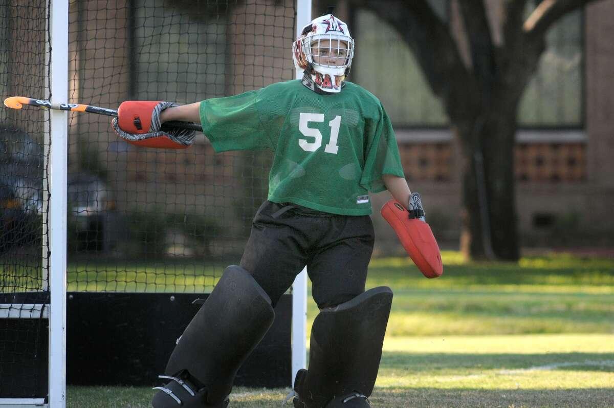St. John's goalie Libby Manela works against Episcopal. Freelance photo by Jerry Baker
