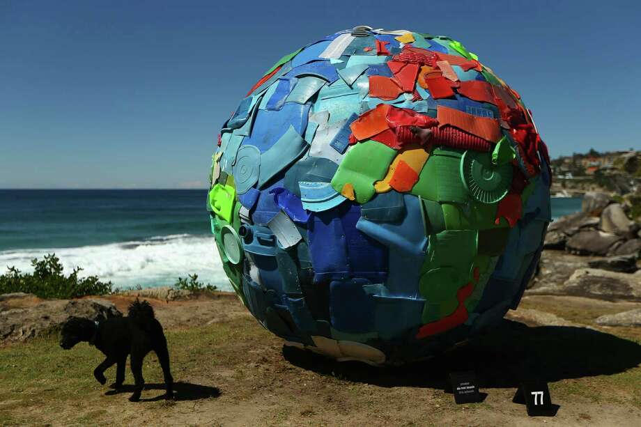 'Plastic World' by artists Carole Purnelle & Nuno Maya is displayed during the 2013 Sculptures by the Sea exhibition at Bondi on October 24, 2013 in Sydney, Australia. Photo: Cameron Spencer, Getty Images / 2013 Getty Images