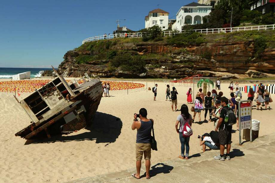 'Washed Up' by artist Tunni (Antony) Kraus is displayed on Tamarama beach during the 2013 Sculptures by the Sea exhibition at Bondi on October 24, 2013 in Sydney, Australia. Photo: Cameron Spencer, Getty Images / 2013 Getty Images