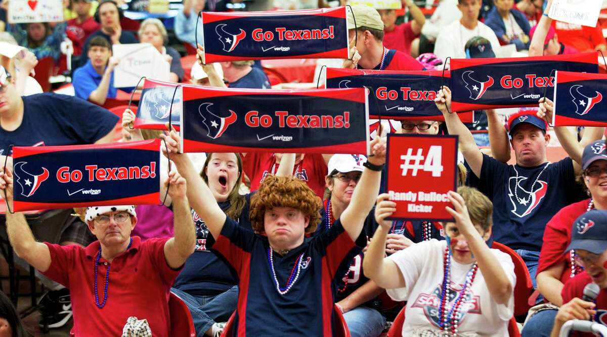The Houston Texans special teams attended a pep rally in September at the Brookwood Community.