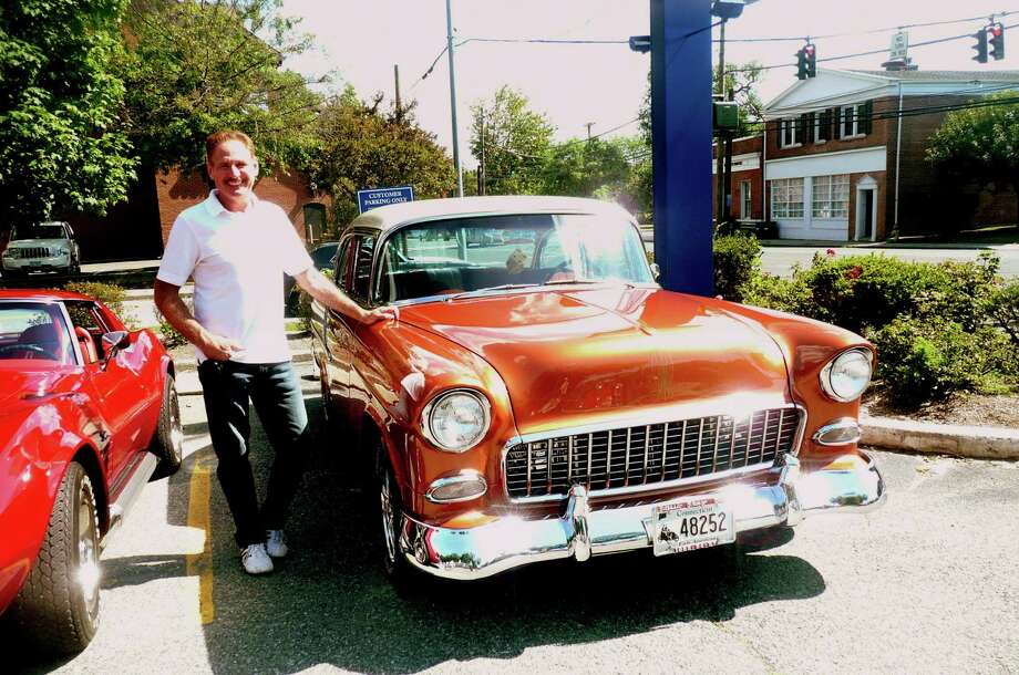 Cos Cob Cruiser David Belmonte stands by his 1955 sierra gold and adobe beige Chevy Bel Air. Photo: Anne W. Semmes / Greenwich Citizen