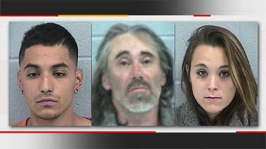 Omar Pineda (left), Perry Don James (center) and Lacey Pineda (right) were arrested in connection with a Bigfoot hunt that ended in an accidental shooting.(Photos from the Rogers County Sheriff's Department)