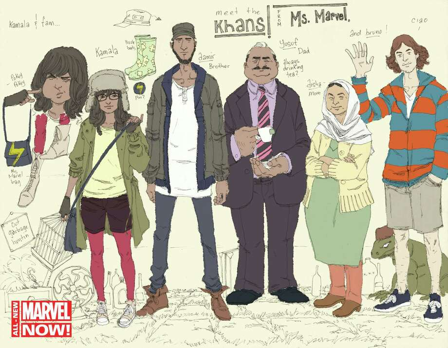 "This comic book image released by Marvel Comics shows character Kamala Khan , second left, with her family Aamir, father Yusuf, mother Disha and friend Bruno, from the ""Ms. Marvel"" issue. The new monthly Ms. Marvel is debuting as part of the Company's popular All-New Marvel NOW! initiative. (AP Photo/Marvel Comics) ORG XMIT: NYET237 / Marvel Comics"